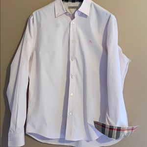Men's Light Soft Pink Burberry Brit Dress Shirt